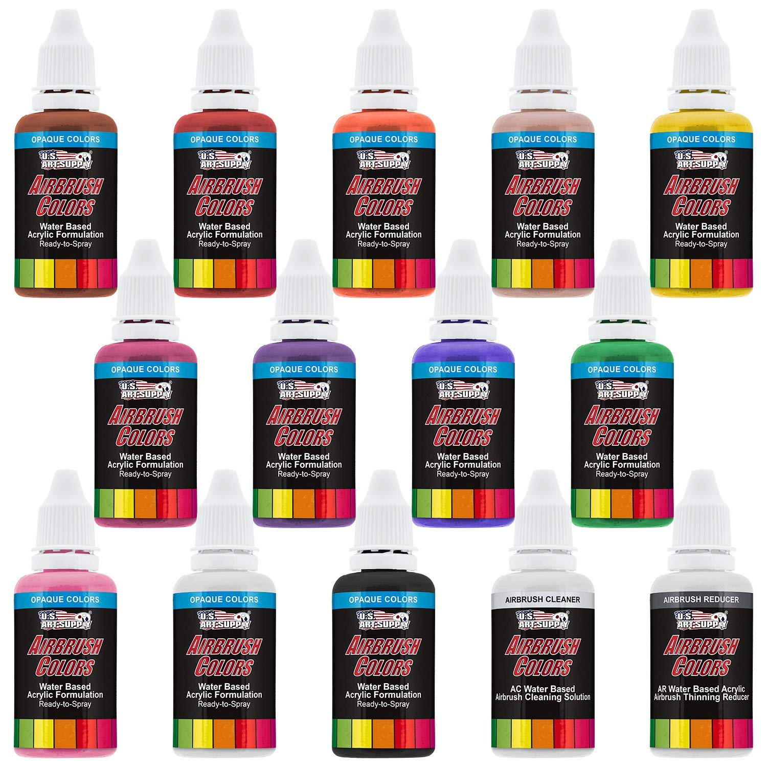 U.S. Art Supply 12 Color Set of Primary Opaque Colors Acrylic Airbrush, Leather & Shoe Paint Set with Reducer & Cleaner 1 oz. Bottles by US Art Supply