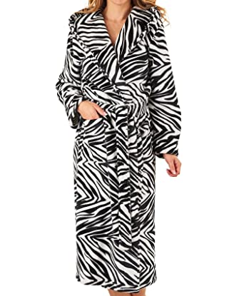 f0d8d18804 Slenderella Womens Zebra Print Hooded Dressing Gown Ladies Soft Fleece Bath  Robe Large (Black)