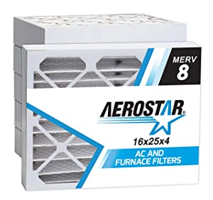 "Aerostar 16x25x4 MERV 8 Pleated Air Filter, Made in the USA 15 1/2"" x 24 1/2"" x 3 3/4"", 6-Pack"