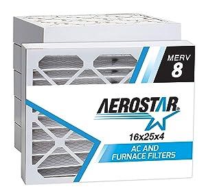 "Aerostar 16x25x4 MERV 8 Pleated Air Filter, Made in the USA 15 1/2"" x 24 1/2"" x 3 3/4"", 6-Pack"