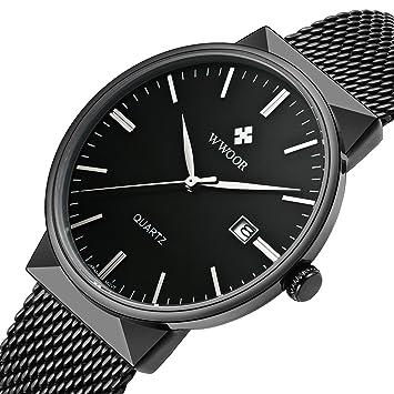3a825ef79de Amazon.com  Classic Quartz Watch Men Military Stainless Steel Sport ...