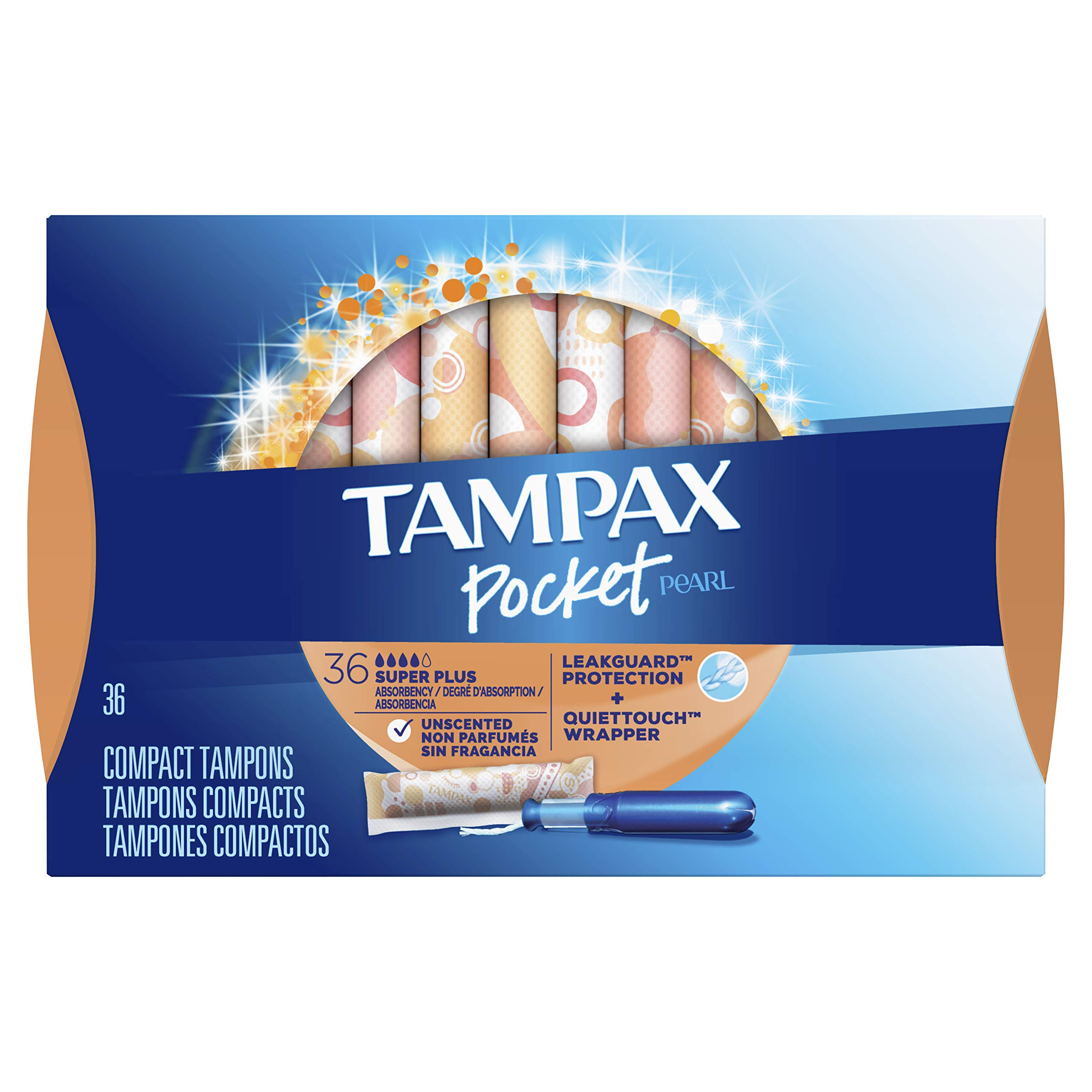 Tampax Pocket Pearl Tampons with Plastic Applicator, Super Plus Absorbency, Unscented, 36 Count - Pack of 3 (108 Count Total) (Packaging May Vary) by Tampax