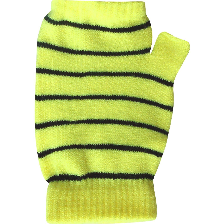 Kids & Teenagers Unisex Stripy Neon Fingerless Thermal Knit Winter Gloves & Wrist Warmers