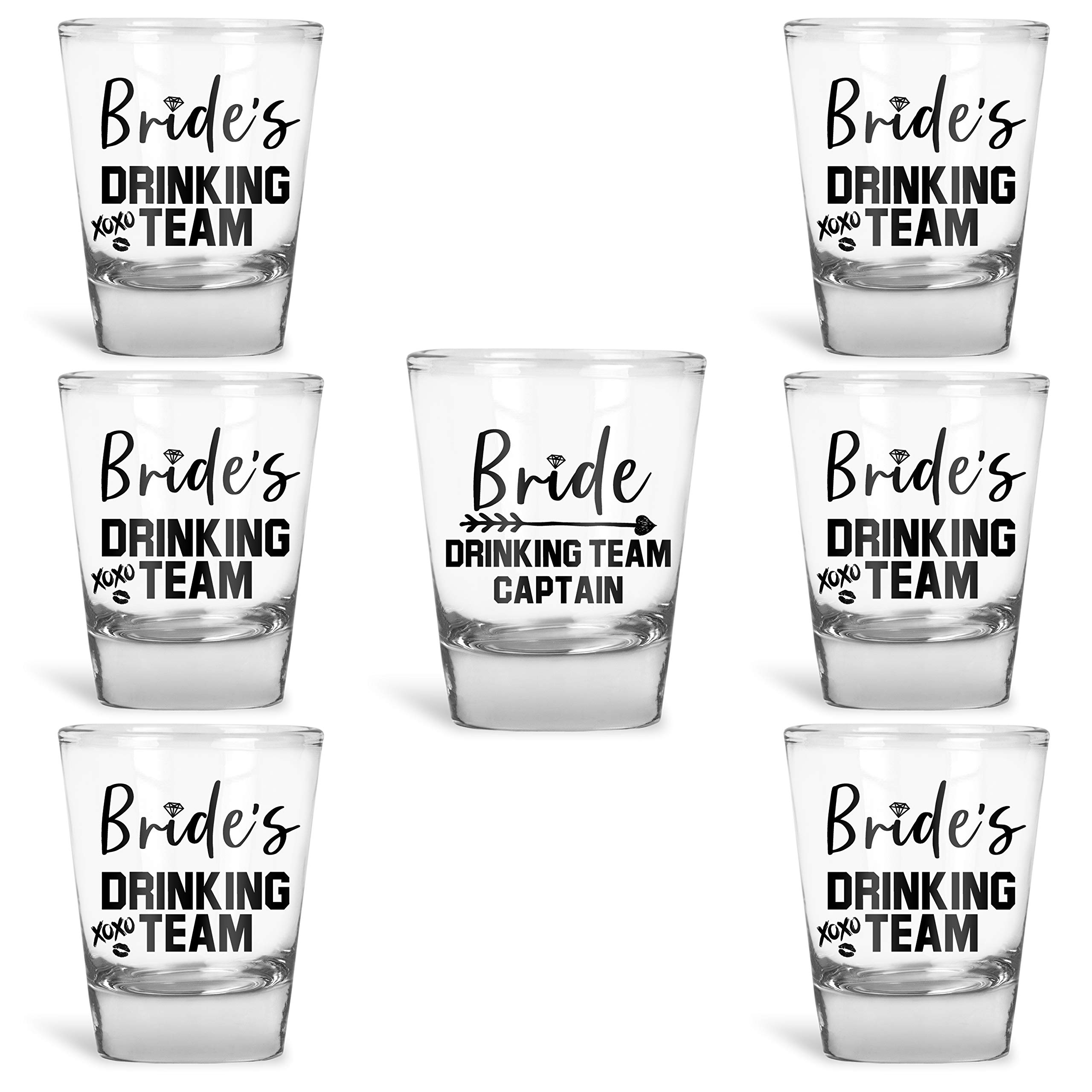 Bridesmaid Gifts Bride's Drinking Team Shot Glasses - Pack of 6 Bride's Drinking Team Member + 1 Bride's Drinking Team Captain - 1.5 oz - Bachelorette Party Favors