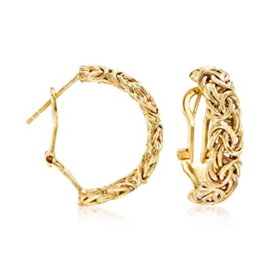 50ef603c1cad3 Ross-Simons 18kt Yellow Gold Over Sterling Silver Byzantine Omega Hoop  Earrings