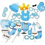 Oblique-Unique 25 Stück Babydusche Foto Props Baby Flasche Masken Fotorequisiten Neugeborene Junge Partydekoration
