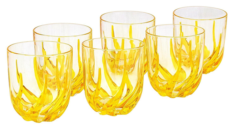 BICCHIERI TRIX ACQUA Vasos de Agua Có ctel Cristal Mano Colores Pintadas Tradició n Venecia CC ZECCHIN - MURANO ART - VENEZIA