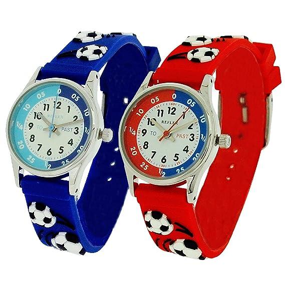 2 x en el mercado a leer la hora azul/rojo 3D de fútbol reloj