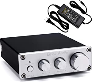 Class D Amplifier, DROK 2.0 Channel 50Wx2 Hi-Fi Digital Audio Stereo Amplifier DC 12V-24V 2CH Home Audio Power Amp with Bass Treble Volume Knob and 24V Power Adapter