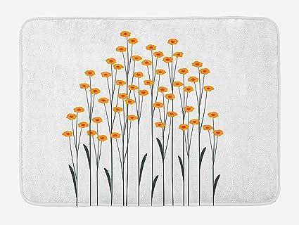 Flower Bath Mat, Hand Drawn Style Yellow Daisies Like