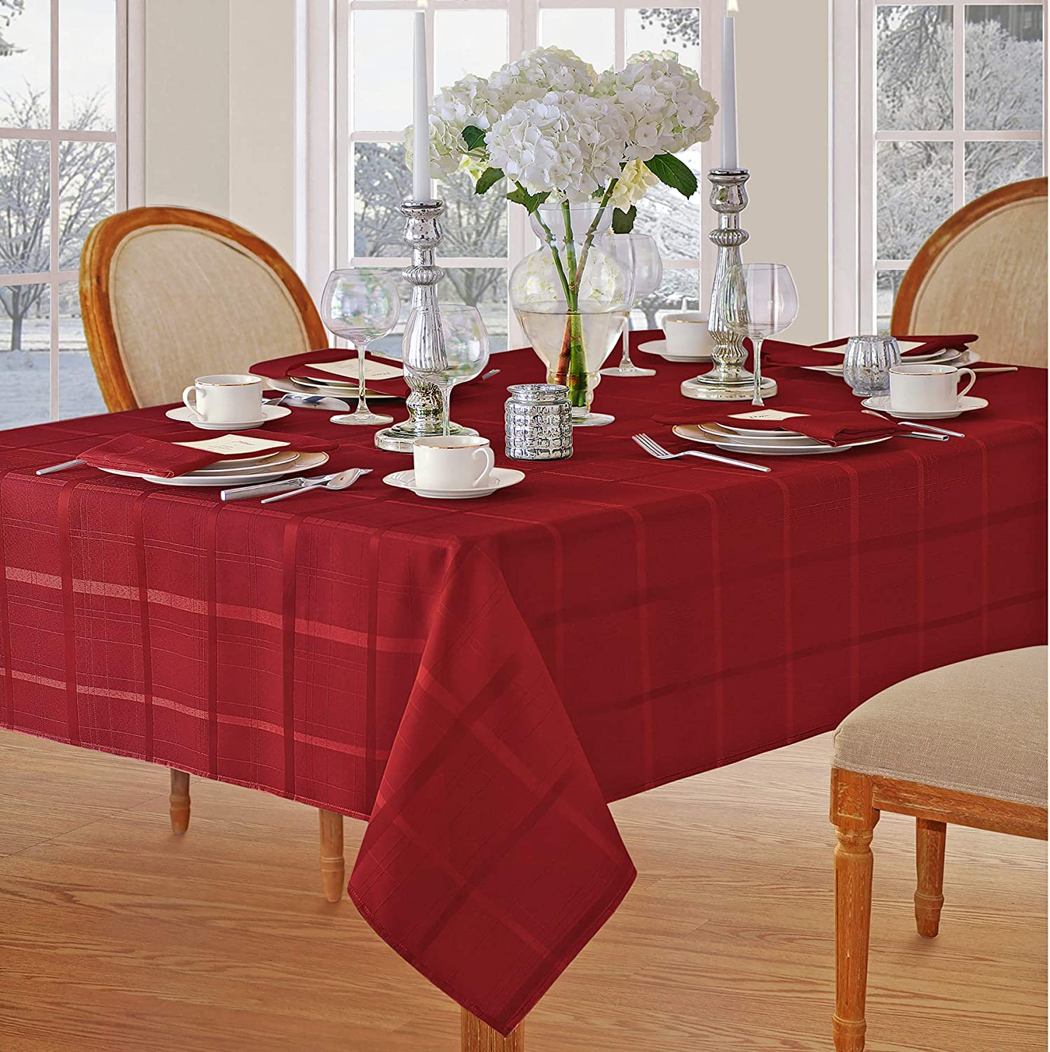 Elegance Plaid Christmas Fabric Tablecloth by Newbridge, 100% Polyester, No Iron, Soil Resistant Holiday Tablecloth, 52 Inch x 70 Inch Oblong/Rectangle, Poinsettia Red