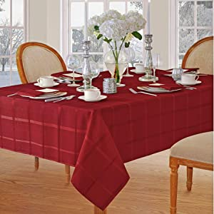 Newbridge Elegance Plaid Christmas Fabric Tablecloth, 100% Polyester, No Iron, Soil Resistant Holiday Tablecloth, 60 Inch x 102 Inch Oblong/Rectangle, Poinsettia Red