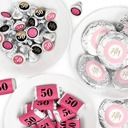 Black /& GOLD 50Th Birthday Party Favor Labels 216 Stickers PARTY