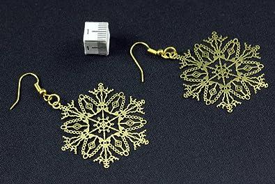 Eisblumen Ohrringe Schneeflocke Eisblume Weihnachten Xmas golden filigran 4