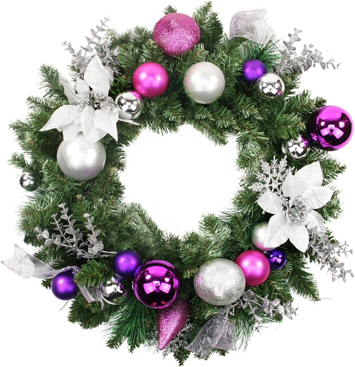 Amazon Com Northlight Poinsettia And Eucalyptus Artificial Christmas Wreath Purple Silver 24 Inch Unlit Home Kitchen