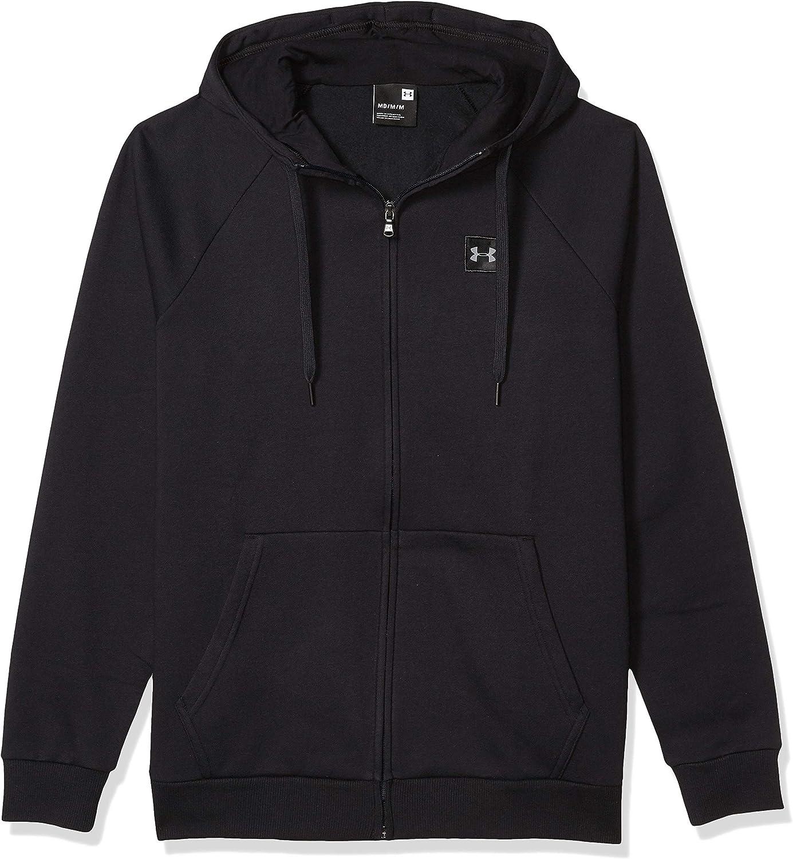 Charcoal Light Heath Under Armour Mens Rival Fleece Full Zip Hoodie 020 //Black X-Large
