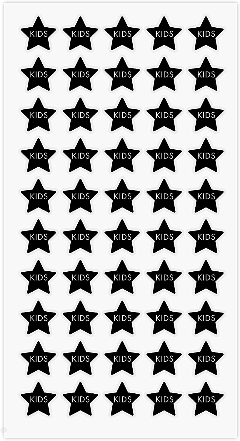 ARK Creation 50 Wedding Meal Stickers for Place Cards - Place Card Menu Choices - Wedding Meal Choice Stickers (Black, Kids Star)