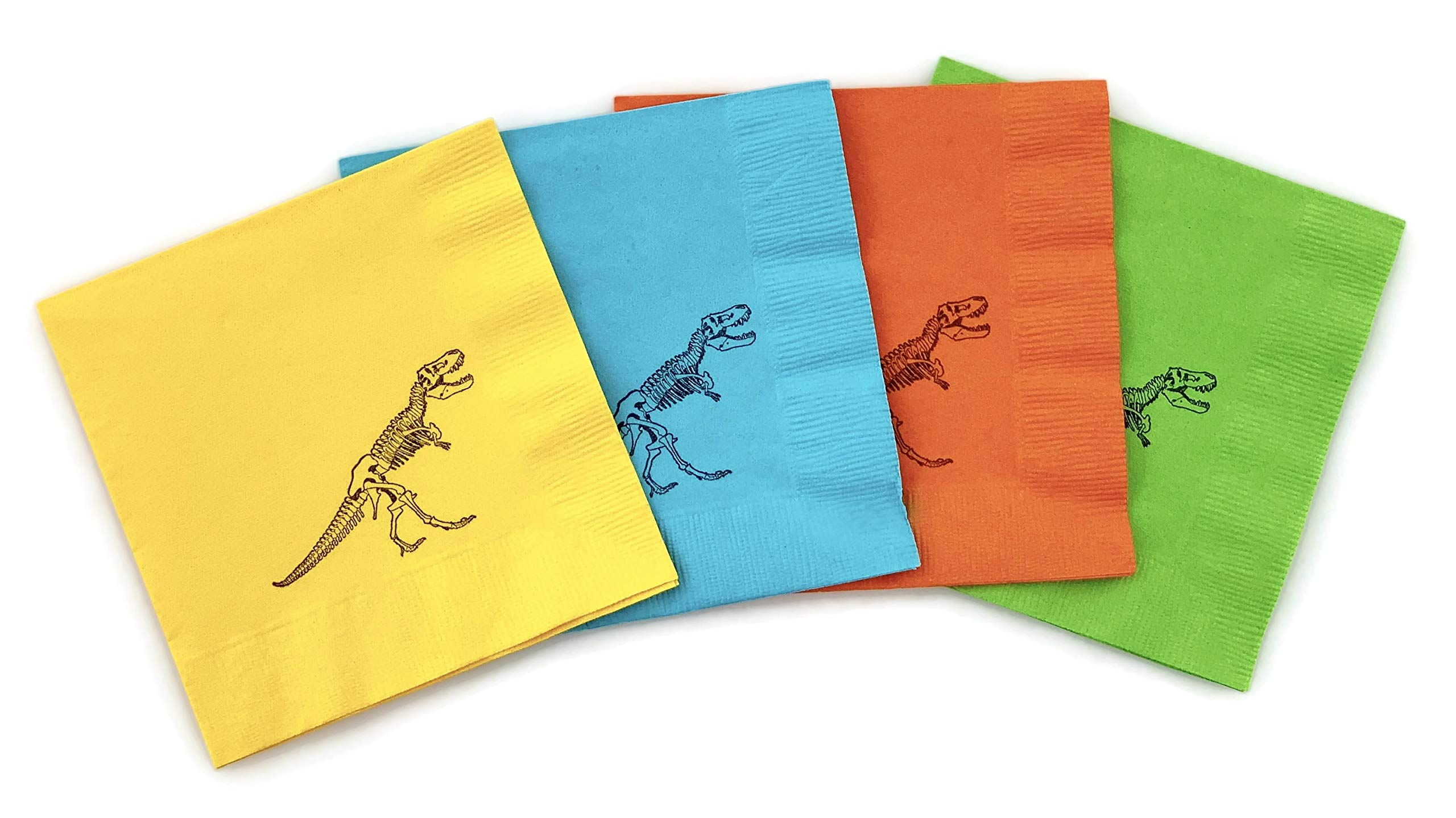 Dinosaur Napkins - Orange Green Blue Yellow Dino Birthday Party Supplies 24 Set by Stesha Party