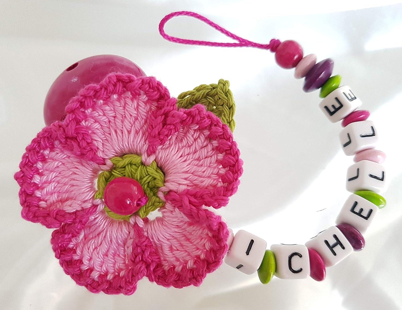 Cadena para chupete con nombres, flores, Bautizo, ganchillo ...