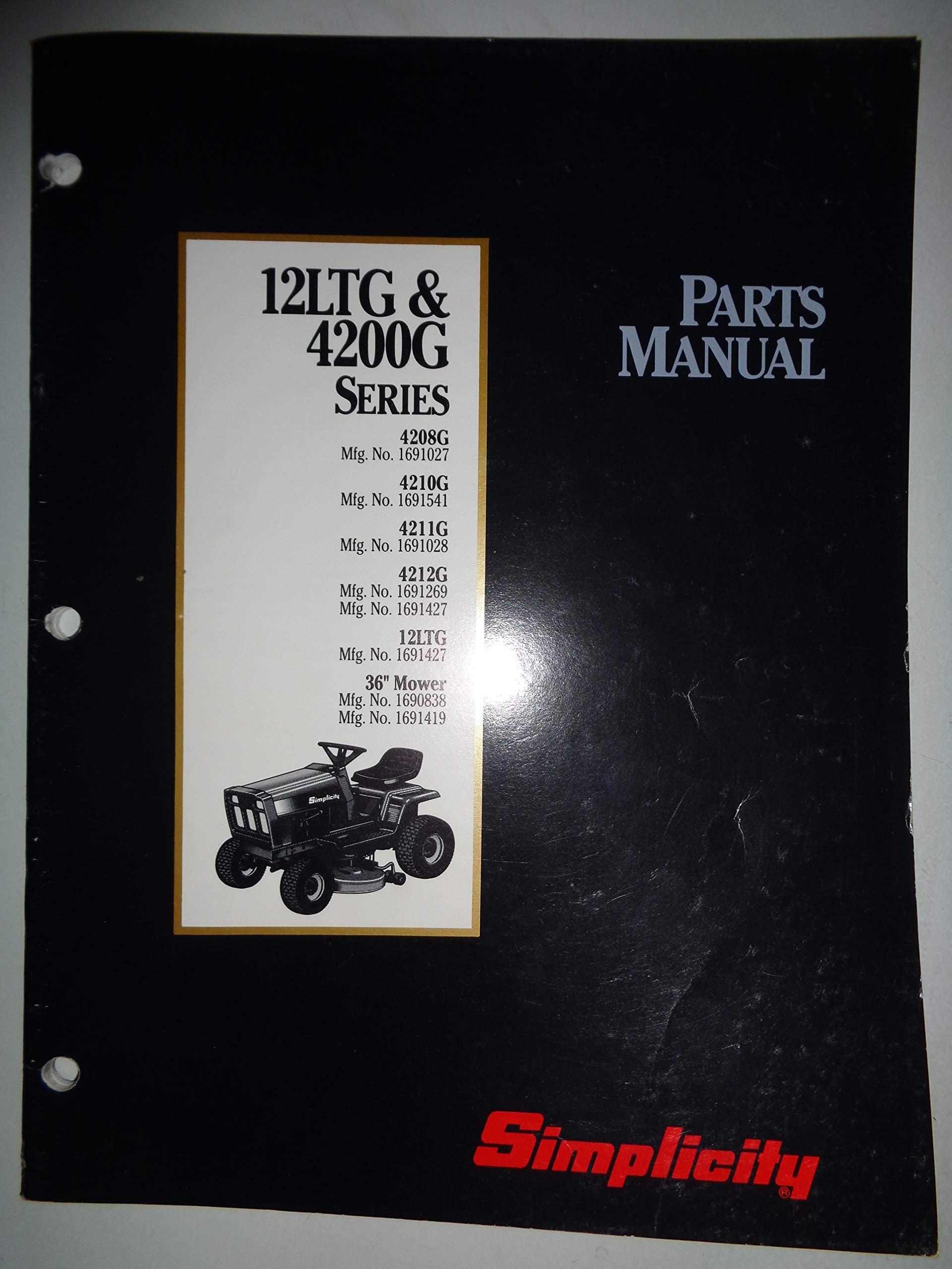 Simplicity 4208 4210 4211 4212 12LTG Lawn Garden Tractor Parts