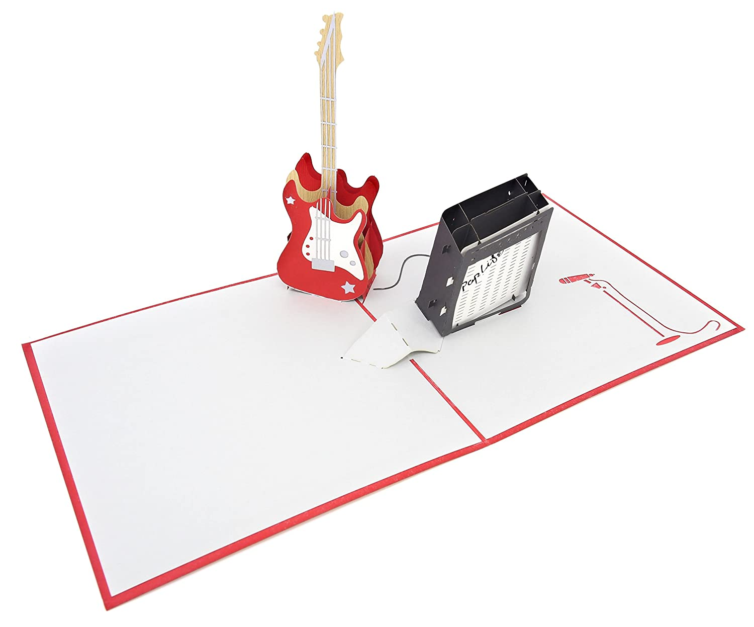 Musician Happy Birthday Pop Up Congratulations Card Band Present Guitar Teacher Gift Retirement PopLife Guitar and Amp 3D Pop Up Fathers Day Card Music School Student Graduation Guitar Card