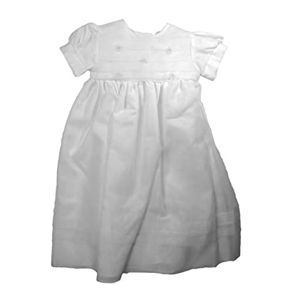 Christening Day Girls' White Organza Overlay Gown with Sheer Flowers