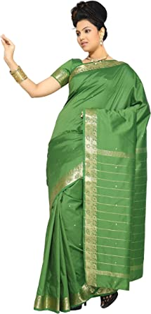 Selecciones de la India – Color Verde Art Seda Saree sari tela india Golden Border: Amazon.es: Ropa y accesorios