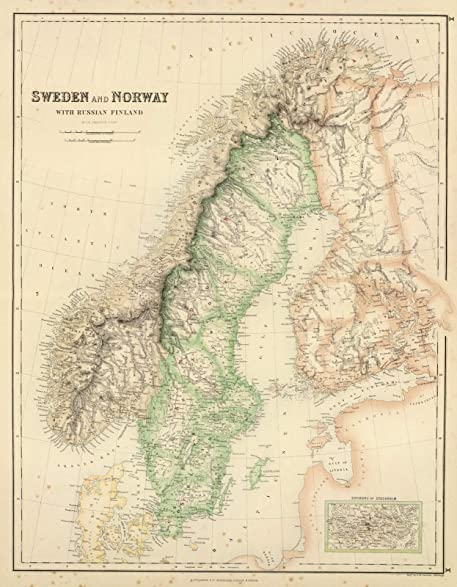 Amazon world atlas 1872 sweden and norway with russian world atlas 1872 sweden and norway with russian finland historic antique vintage map gumiabroncs Gallery