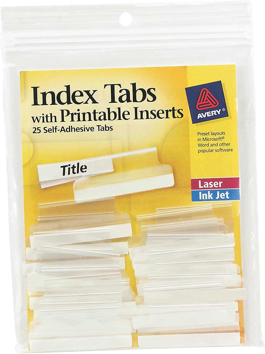 Avery Index Tabs, with Printable Inserts, 1.5-Inch, 25 Tabs, 1 Set (16230),Clear