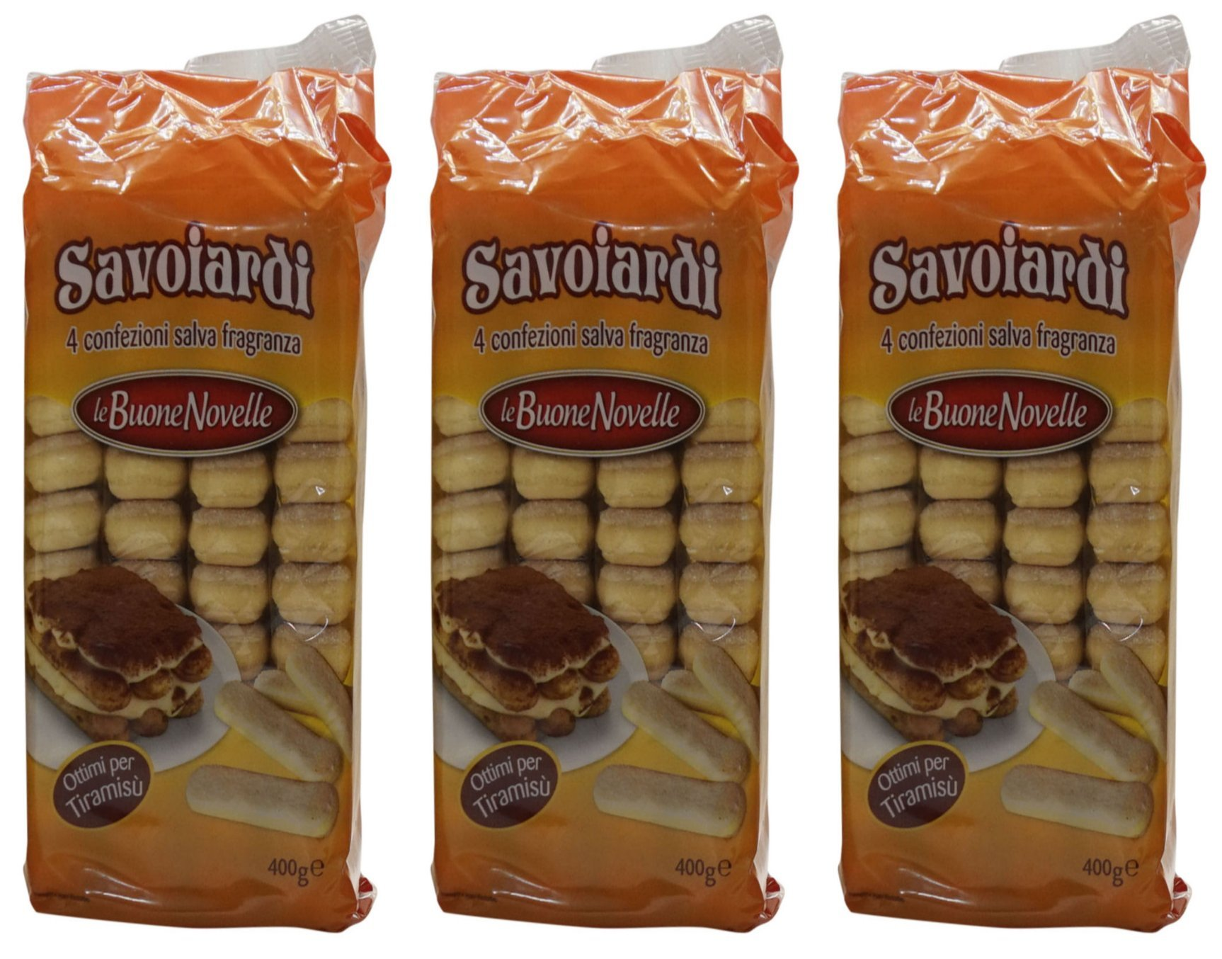 La Buone Novelle: '' Savoiardi'' Ladyfingers (in British English Sponge Fingers) 14.10 Ounce (400gr) Packages (Pack of 3) [ Italian Import ] by Le Buone Novelle