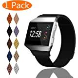 KingAcc Fitbit Ionic Bands, Mesh Loop Milanese Stainless Steel Metal Replacement Band for Fitbit Ionic, With Magnetic Clasp Lock Strap Large Small Women Men Silver, Rose Gold, Rose Pink, Champagne