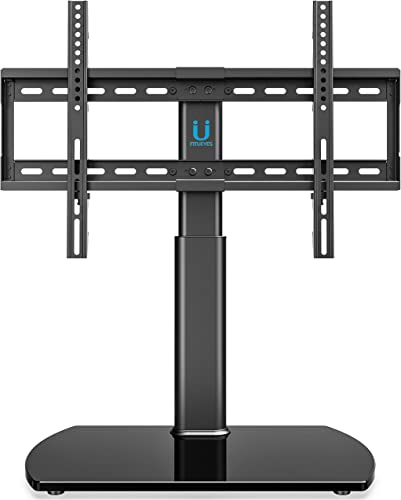 FITUEYES Universal TV Stand Base Tabletop TV Stand with Wall Mount for 32 to 65 inch Flat Screen 3 Level Height Adjustable, Heavy Duty Tempered Glass Base, Holds up to 110lbs Screens TT107001GB