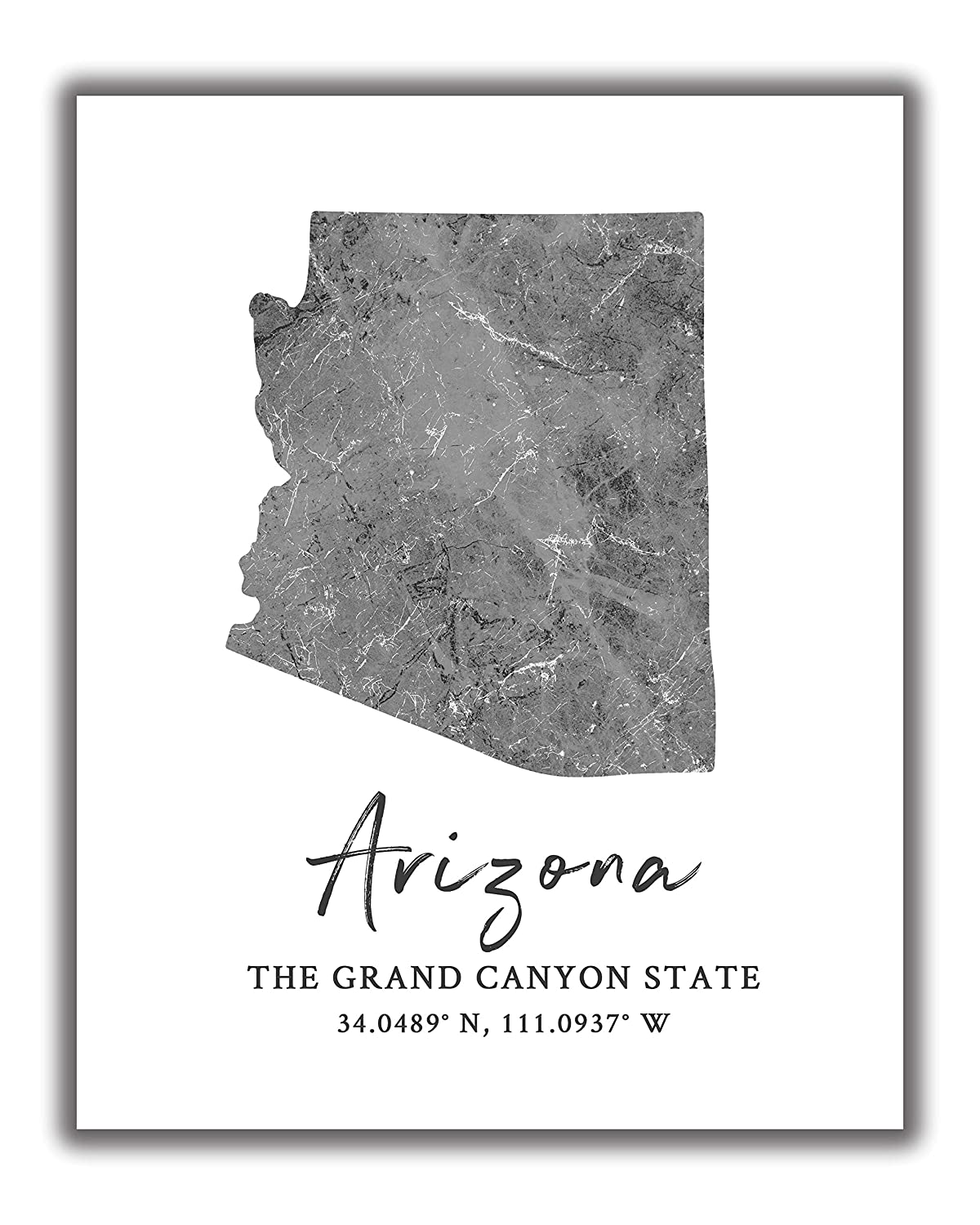 Arizona State Map Wall Art Print - 8x10 Silhouette Decor Print with Coordinates. Makes a Great Arizona-Themed Gift. Shades of Grey, Black & White.