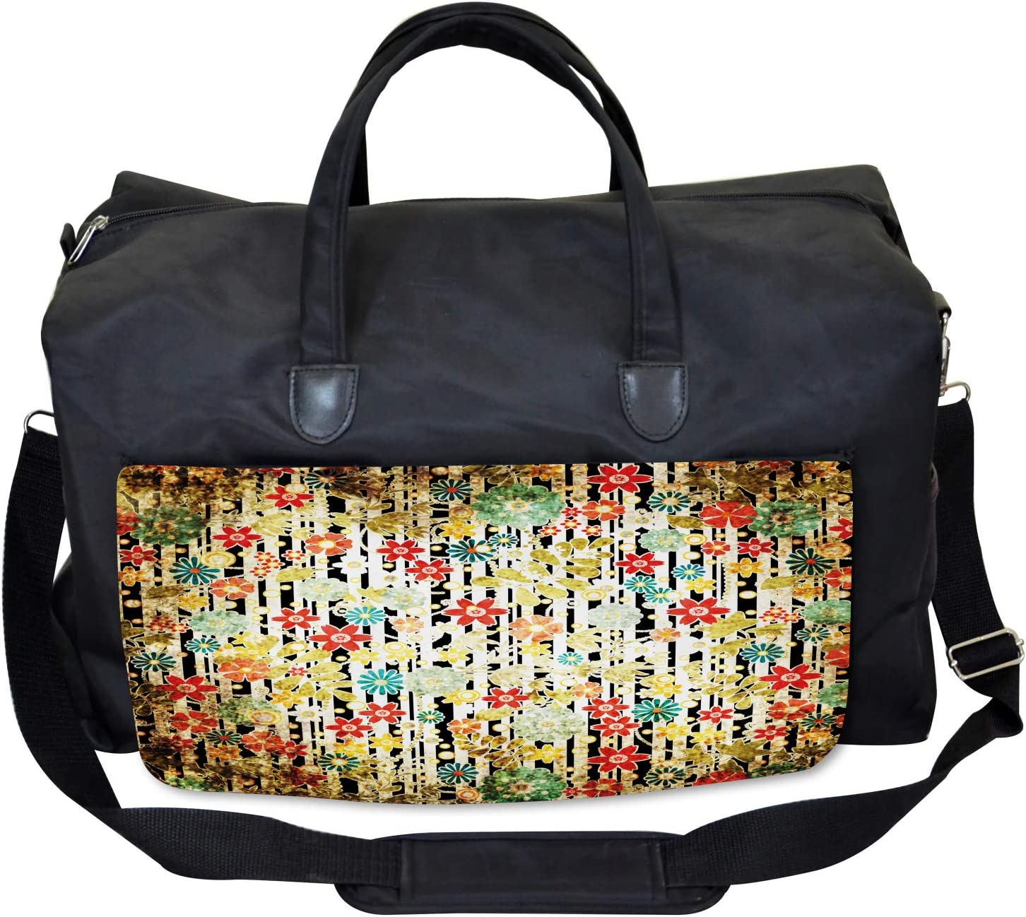 Ambesonne Floral Gym Bag Large Weekender Carry-on Ivy Leaves and Scenery