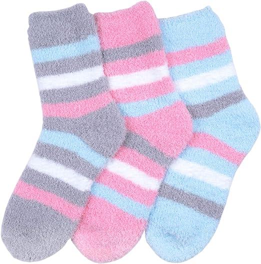 Mopas Women/'s Super Soft Anti-Skid Fuzzy Slipper Socks 6 Pairs O//S DStripes