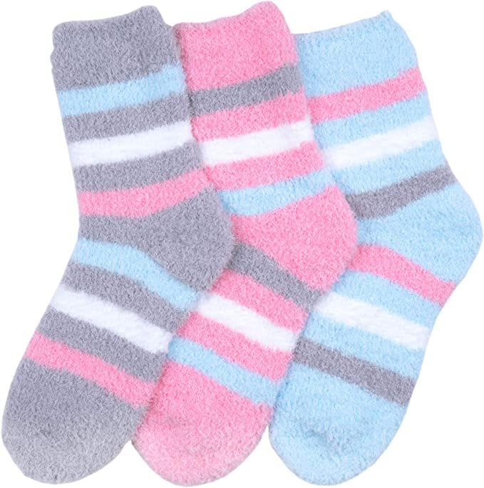 3 Pairs For Womens Soft Cozy Fuzzy Socks Winter Home Soft Warm Dots Slipper