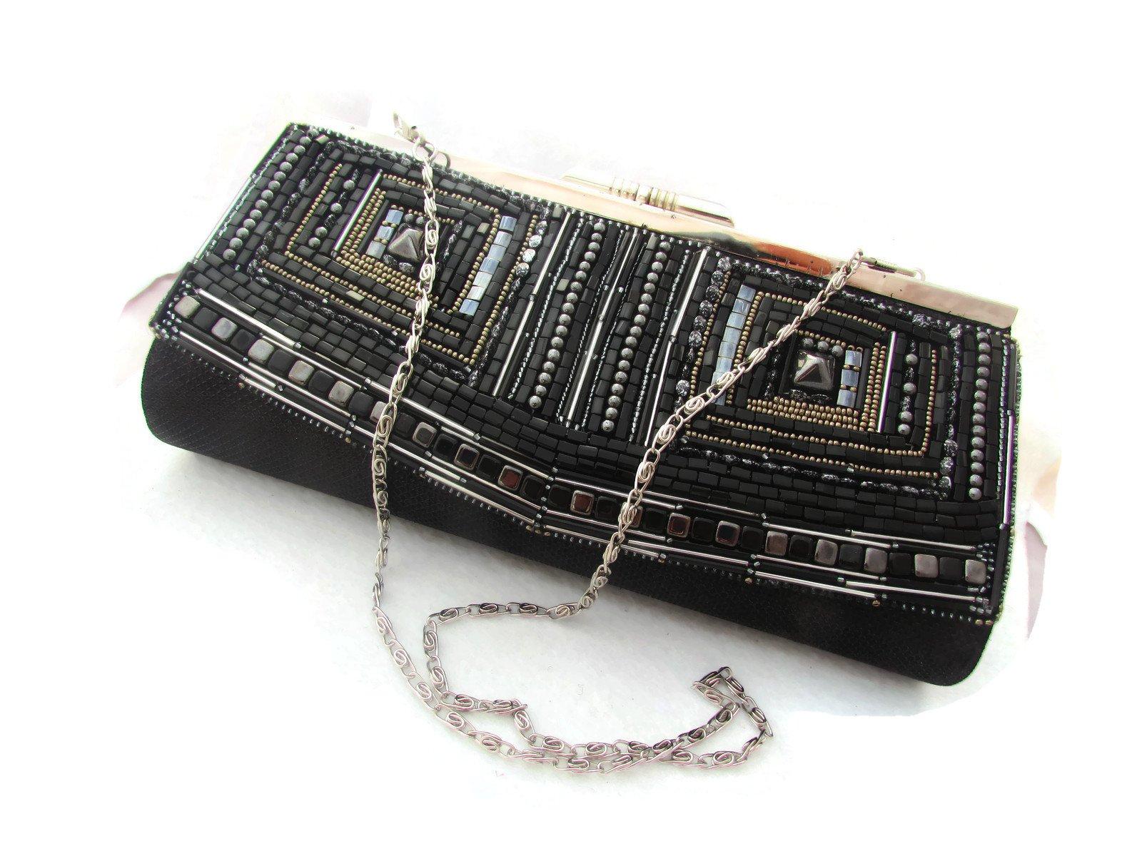 Original black silver gunmetal handmade bead embroidered artisan jewelry purse handbag pouch clutch - Black chess