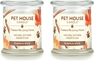 product image for One Fur All - 100% Natural Soy Wax Candle - Pet Odor Eliminator, Up to 60 Hours Burn Time, Non-Toxic, Eco-Friendly Reusable Glass Jar Scented Candles – Pumpkin Spice - Pack of 2