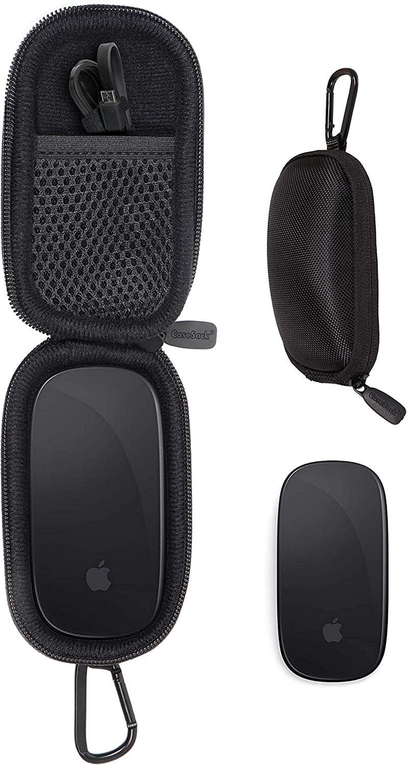 CaseSack Case for Apple Magic Mouse 1 and Magic Mouse 2, Strong Travel Carrying Case, Mesh Accessories Pocket, Detachable Wrist Strap (Ballistic Black)