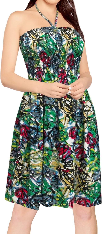 LA LEELA Womens Short Tube Dress Printed Beach Casual 1725