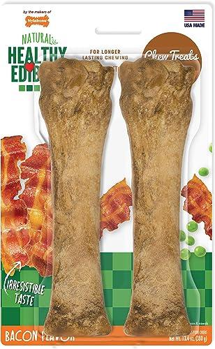 Nylabone Neb105Tpp Healthy Edibles Natural Bacon Treats, 2 Pack