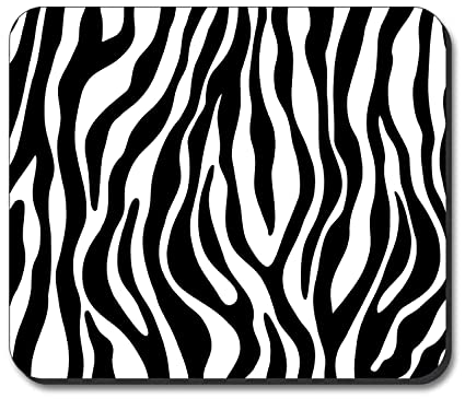 Zebra print black white mouse pad