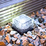 4 x Set Deal of White LED Solar Powered Garden Glass Path Light by Lights4fun