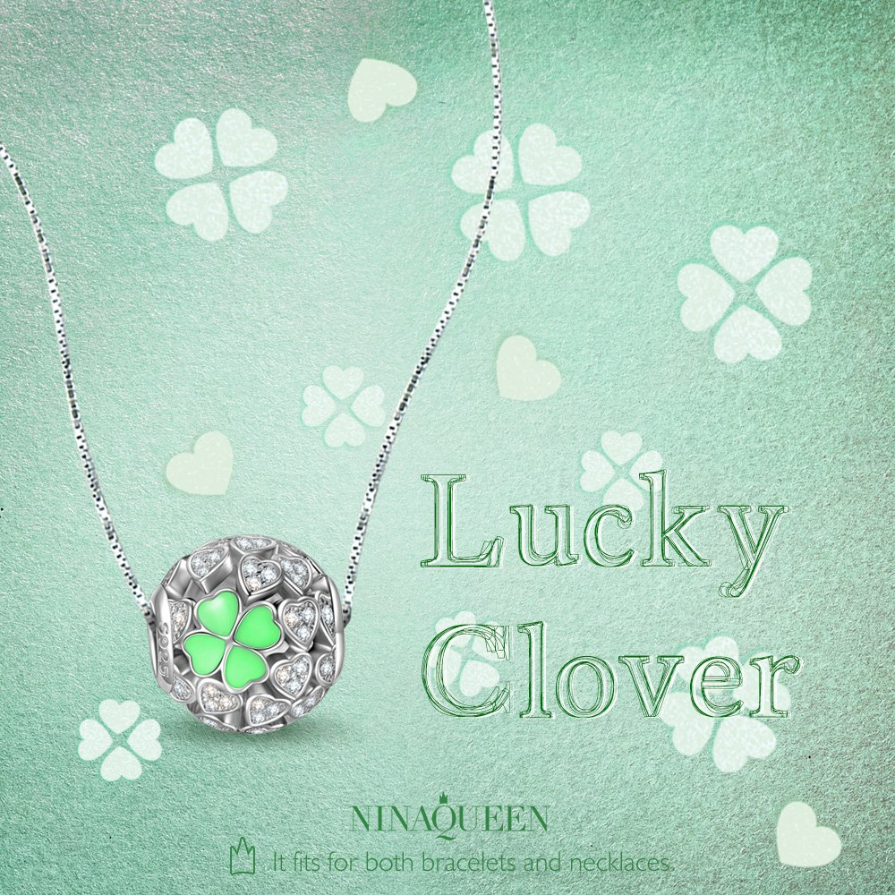 NINAQUEEN Lucky Clover Silver Heart Mint Clovers Openwork Bead Charms for Pandöra Bracelets Necklace Jewelry Making Birthday Anniversary Women Gifts for Her Wife Girlfriend Daughter Teen Girls Kids by NINAQUEEN (Image #6)