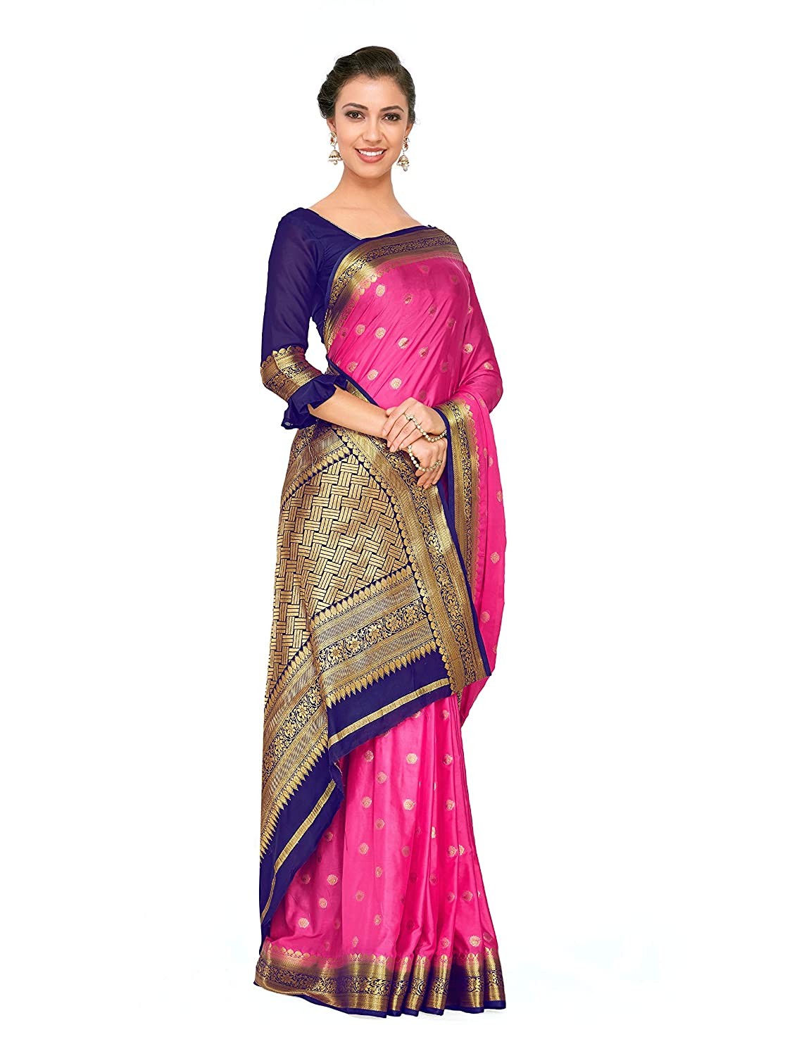 84308a59a00d4f Mimosa Art Crape silk Wedding saree Kanjivarm Pattu style With Contrast  Blouse Color  Pink (4272-2271-2D-GAJJ-NVY)  Amazon.in  Clothing    Accessories