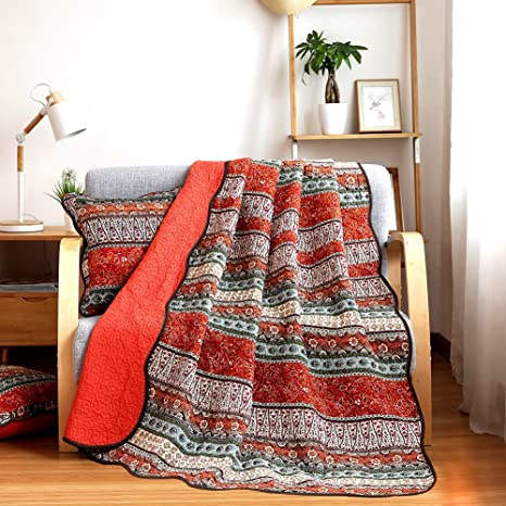 Orange Jacquard NEWLAKE Quilt Throw Blanket with Classical Floral Patchwork 60X78 Inch