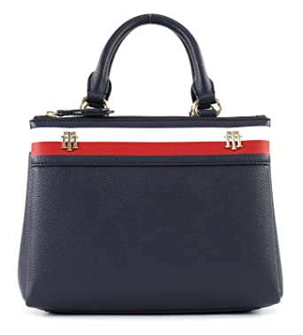 Kunden zuerst große Auswahl an Farben berühmte Designermarke Tommy Hilfiger Cool Hardware M Satchel Blau Damen Handtasche Umhänge Tasche  Schultertasche Taschen AW0AW04988-902 Blau
