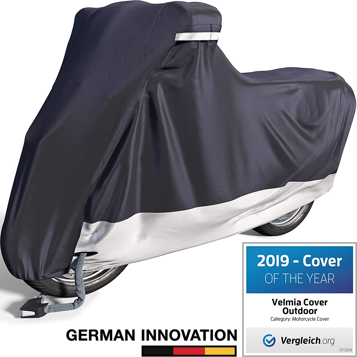 Velmia Motorcycle Cover Waterproof Outdoor & Indoor [XX-Large] Heavy Duty Premium Bike Cover, Moped Cover for Harley Davidson -Scooter Cover heat-resistant, scratch-free & breathable for ideal storage