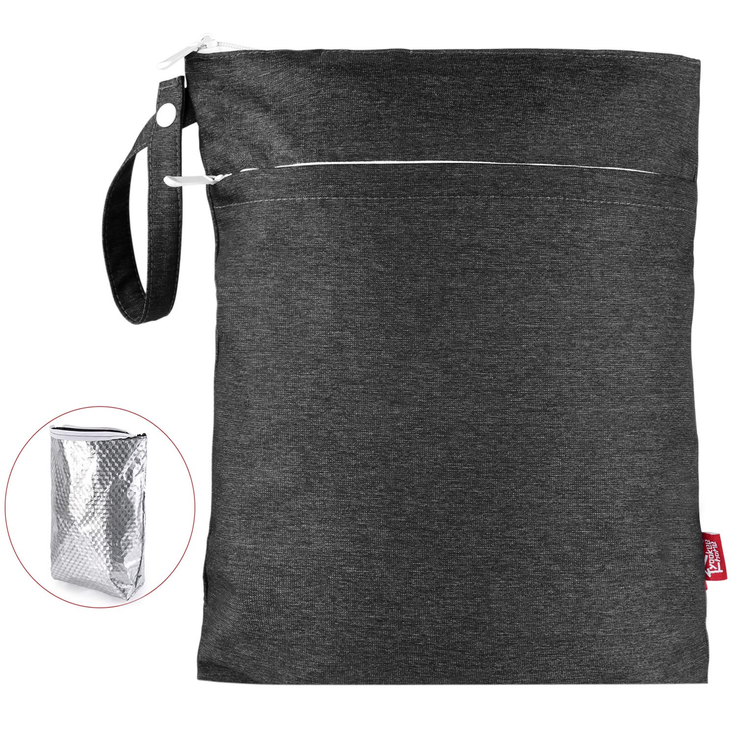 Waterproof Wet Dry Bag Double Layer Reusable Cloth Diaper Wet Bag with Waterproof Liner and Zippered Pocket for Diapers, Laundry, Swimsuits and Dirty Cloth