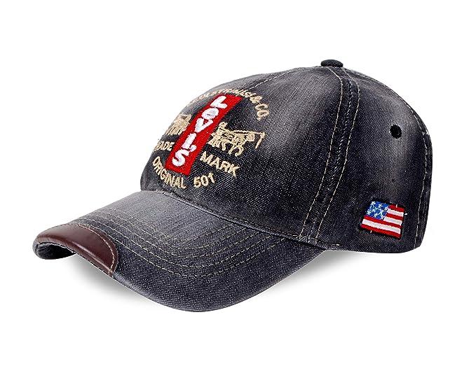 50d0825493bf Image Unavailable. Image not available for. Colour  SHVAS Stylish Cotton Baseball  Adjustable Denim Black Cap ...